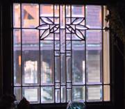 Edwardian-style leaded glass in a bungalow window