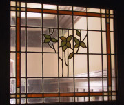 Art glass in an interior door in an Arts & Crafts house