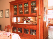 Art glass in a bungalow dining room buffet