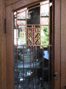 Prairie School art glass in a buffet door