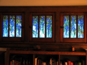 New, Tiffany-style art glass inserts in a bungalow