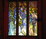 Close-up of new, Tiffany-style art glass insert
