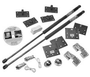 Murphy bed hardware kit from  Rockler Woodworking.