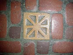 Batchelder floor tile in the Handicraft Guild Building.