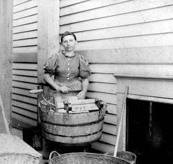 Woman with Wash Tub 1800s.