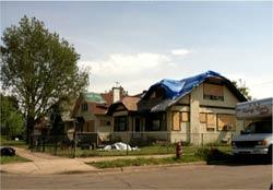 damaged houses.
