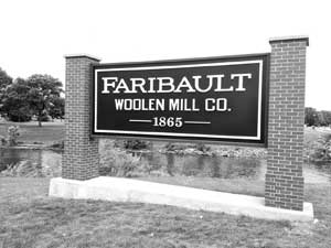 Faribault Woolen Mill sign.