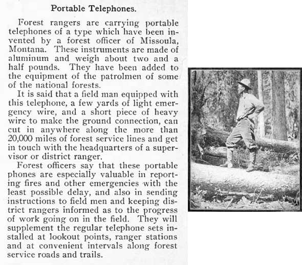 """Portable Telephones"" and forest ranger."