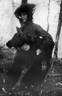 Photo of woman with a moose.