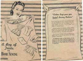 "Front and back covers of a WWII booklet issued by the National Cotton Council of America which sums up the home front effort to conserve—""A Yard Saved Is a Yard Gained for Victory."""
