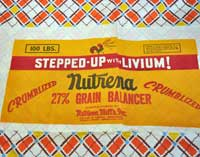 The paper label for Nutrena (a product made in Minnesota) is as bold as the geometric pattern on the fabric.
