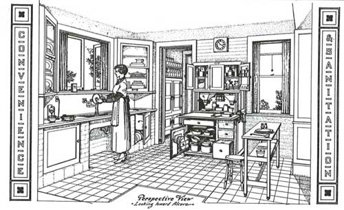Note the electric mixer on the counter at the far left of the image.