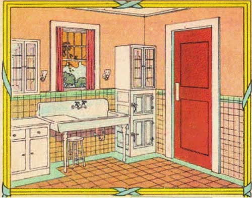 Drawing of a kitchen.