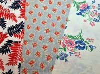 Examples of sack cloth printed with patterns for re-use as clothing.