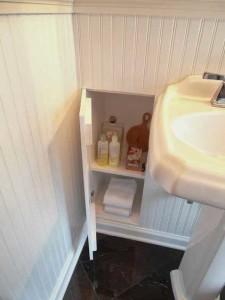 Cabinet between studs.