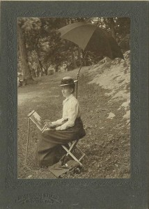 vintage photo of Emma painting.