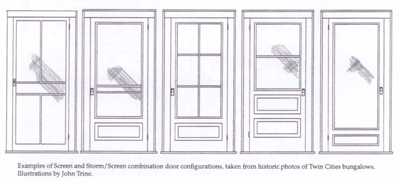 Caption: Examples of wood screen and storm/screen combination doors, taken from historic photos of Twin Cities bungalows. Illustration by John Trine.