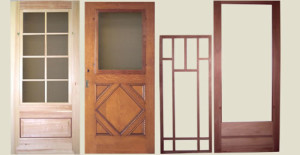 Examples of wood storm/screen doors made by Adams Architectural Millwork, in Iowa.