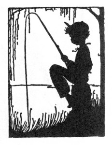 Silhouette of boy fishing.