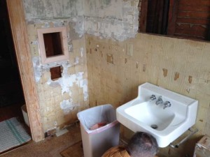 Gutted bathroom.