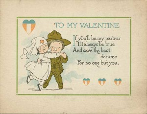 WWI Kewpie Nurse and Soldier valentine from 1919.