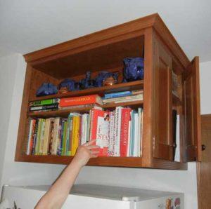 Cabinet over fridge.
