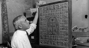 Photo of Batchelder checking tile work.