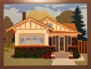 Notecard with bungalow illustration.