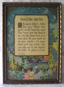 A framed Buzza motto, dated 1925.