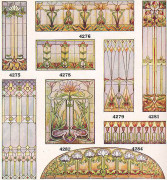Stained glass examples from a 1920s millwork catalog