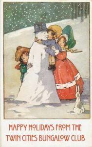Vintage illustration of children and snowman.
