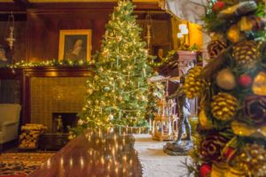Christmas tree in Glensheen parlor.