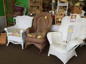 3 wicker chairs.