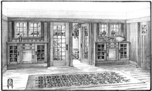 Drawing of an Arts & Crafts interior.