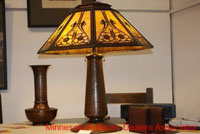 Lamp and decorative metal items.