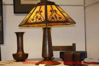 Lamp and decorative metal items.