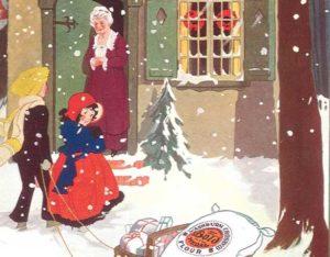 Illustration of children delivering gifts.