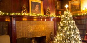 Fireplace and Christmas tree at Glensheen.