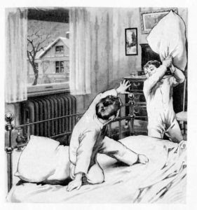 Vintage illustration of boys having a pillow fight.