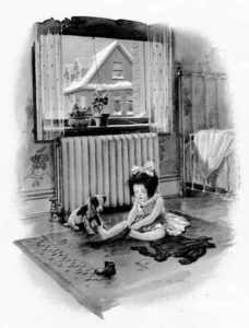 Illustration of little girl and puppy by a radiator.