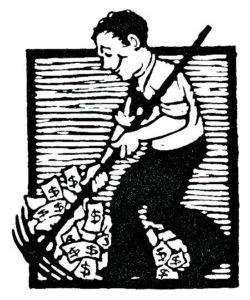 man raking up money.