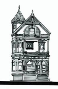 Drawing of a Victorian house.