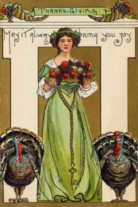 Vintage postcard of woman with turkeys.