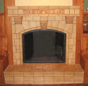 photo of tile fireplace.