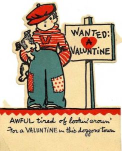 Valentine of boy with dog.