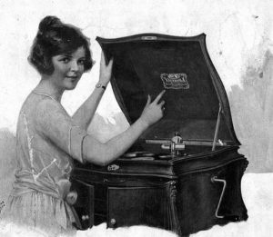 Vintage ad showing woman and victrola.