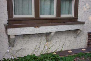 My home's original stucco window box, though still attached to the house, had decayed.