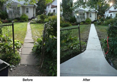 Sidewalk before & after.